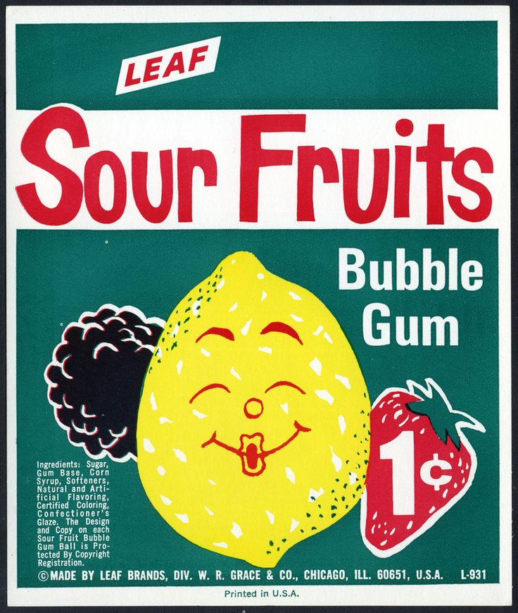 Candy Machine Vending Insert Card - Leaf Sour Fruits 1-cent bubble gum - 1960's
