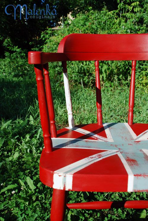 Union Jack Captain's Chair in Annie Sloan's Emperor's Silk, Duck Egg Blue and Old White.