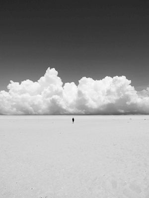 Susanne Kraft - Heaven and earth. A black and white photo of a person walking on a beach.