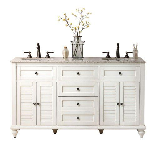 hamilton shutter double vanity 35 hx61 w distressed whit. Black Bedroom Furniture Sets. Home Design Ideas