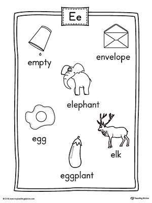 Short Letter E Word List with Illustrations Printable
