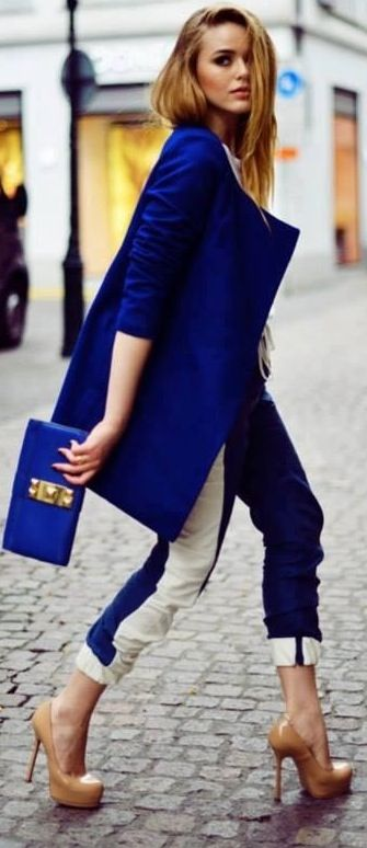 Cobalt blue jacket + clutch
