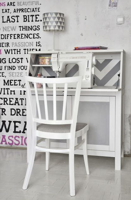 chevron and chalkboard on hemnes bureau ikea hackers ikea hackers this would be the perfect little sewing table