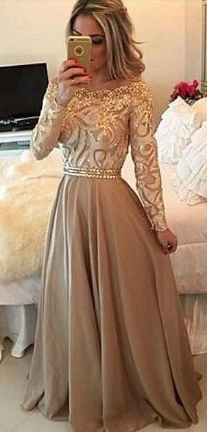 Girly Outfit | gorgeous gold lace chiffon modest prom dress with sleeves long ball gown for prom