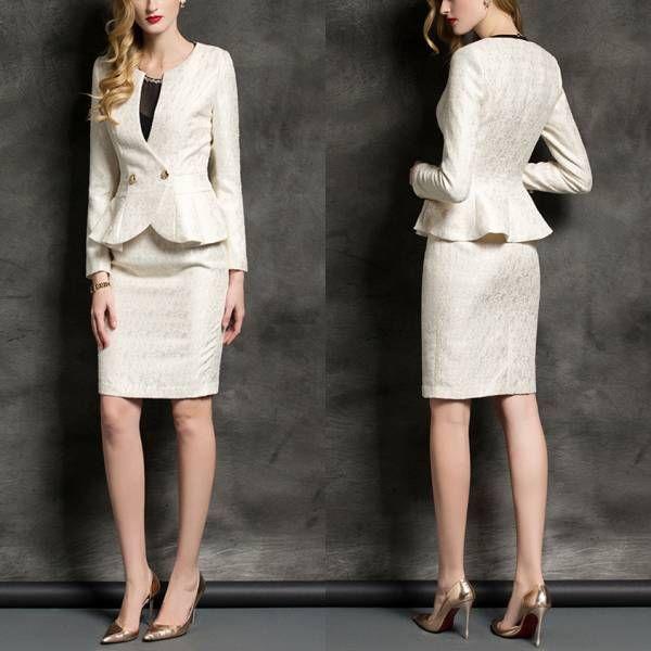 人気レディースファッショントレンドデザインエレガントビジネスオフィスOL上品職場女性社員魅力長袖フォーマルスリムスカートスーツ S22OW_画像3