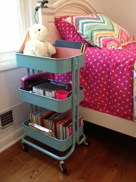 Lily room redo! IKEA kitchen cart as a nightstand. Great for extra storage and organization.