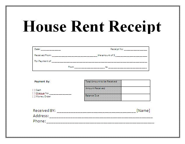 free house rental invoice | Receipt Template