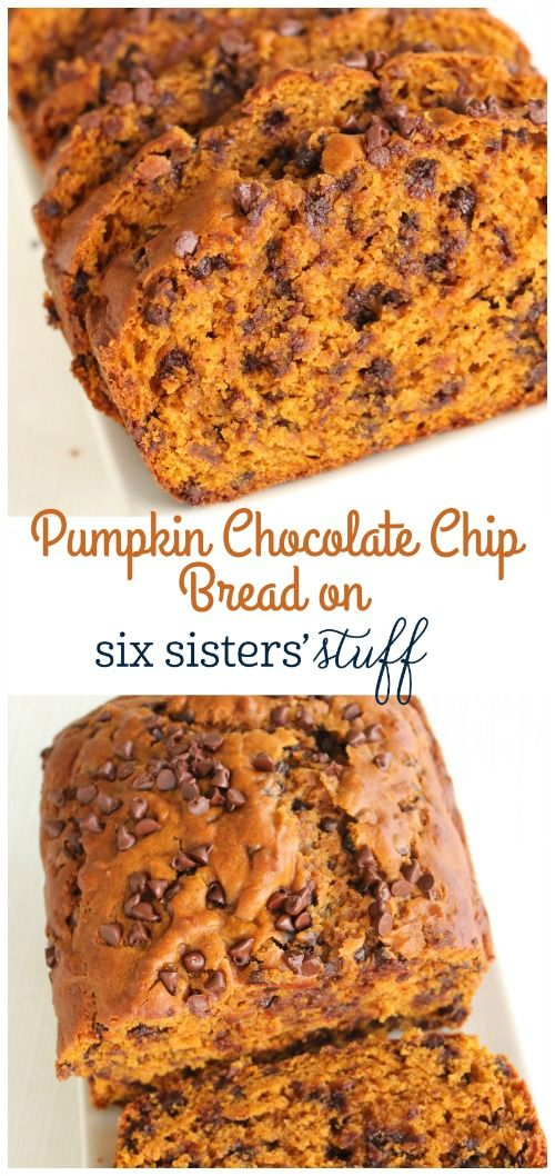 Pumpkin Chocolate chips Bread recipe from @sixsistersstuff | We never get tired of delicious pumpkin recipes and this pumpkin chocolate chip bread ranks right at the top.  You'll love this recipe because it makes 2 loaves!  One loaf for you and one to give away……or better yet, 2 loaves for you!!  It's that good!
