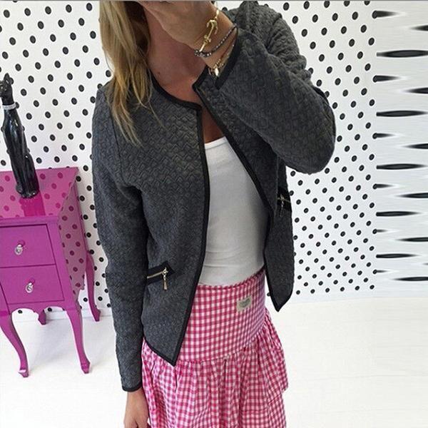 CELMIA S-4XL 2017 Spring Autumn Women Basic Jacket Long Sleeve Zipper Pockets Slim Short Cardigan Coat Casual Outwear Plus Size-Enso Store-White-S-Enso Store
