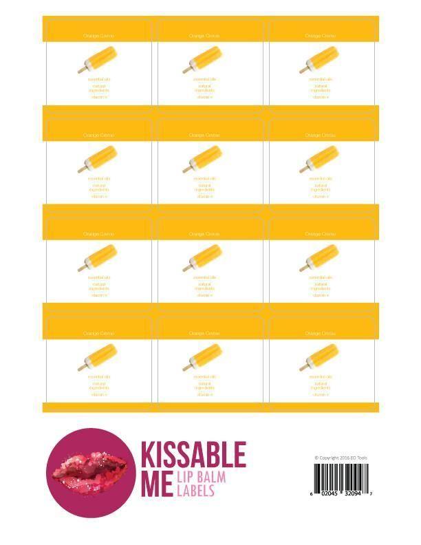 Kissable Me Orange Creme Lip Balm Label Sheet