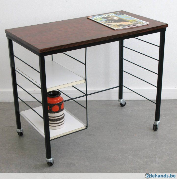 Vintage trolley bijzettafel retro tafel palissander formica - Te koop