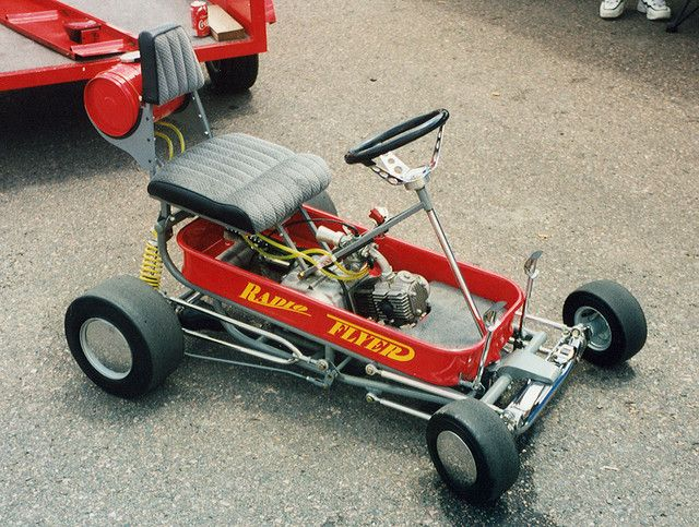 Radio Flyer wagon modified into a go-kart and most kids dreams