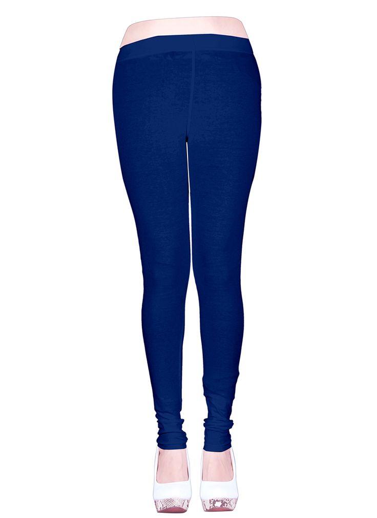 Neavy Blue Cotton Casual Wear Plain Leggins