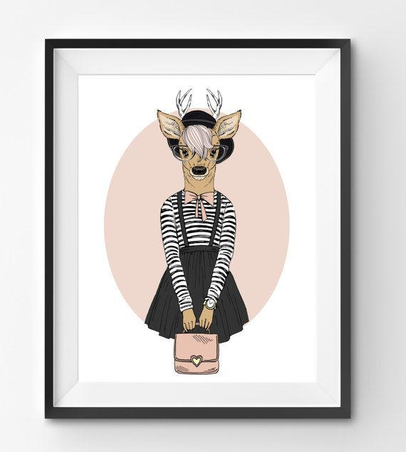 Female Deer Animal Print Fashion Animal Deer Digital Print