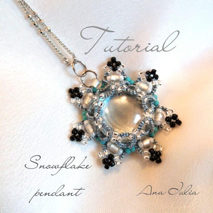 Snowflake pendant Pattern/TUTORIAL by AnaIuliaTattingLace on Etsy