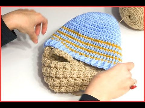 HOW TO CROCHET A BEARD USING PUFF BOBBLE STITCH - YouTube