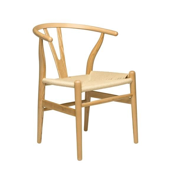 Wishbone Chair (Ash/Woven Cord) | Hans Wegner Wishbone chair replica from Laura Davidson. Solid walnut stained American ash wood frame. Natural woven cord seating surface. Silicone floor protectors. Commercial grade: suitable for home, office, restaurants, hotels. Sold as a single chair, fully assembled.
