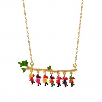 N2 NECKLACE THE 7 DWARVES  Someday my Prince will come… N2 revisits the famous Brothers Grimm's tale through its most memorable symbols : Snow White and her glass coffin, the 7 dwarves and their mattocks, the evil Queen and the poisoned apple…