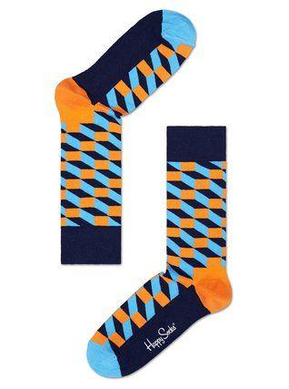 Happy Socks - Dámské oranžovo-modré ponožky  Filled Optic - 1