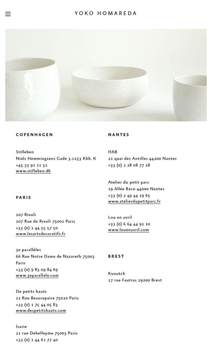 La Casse, studio nantais. http://yokohomareda.com/ Web Design et développement d'un site vitrine responsive pour l'artisan céramiste Yoko Homareda.