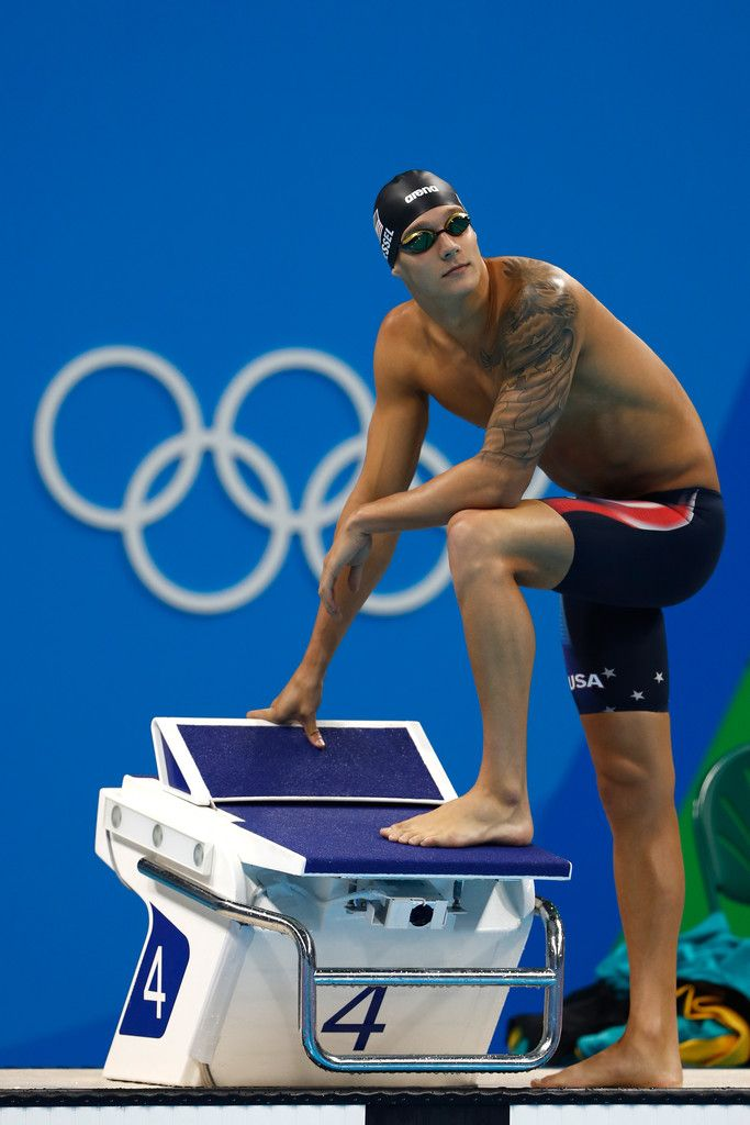 Caeleb Dressel of the United States looks on in the first Semifinal of the Men's 100m Freestyle on Day 4 of the Rio 2016 Olympic Games at the Olympic Aquatics Stadium on August 9, 2016 in Rio de Janeiro, Brazil.