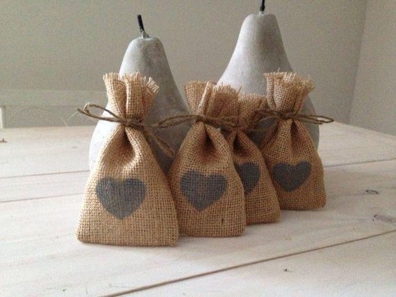 50 Grey Heart  Hessian/ Burlap Wedding Favor Bags by BreeWestwood, $75.00