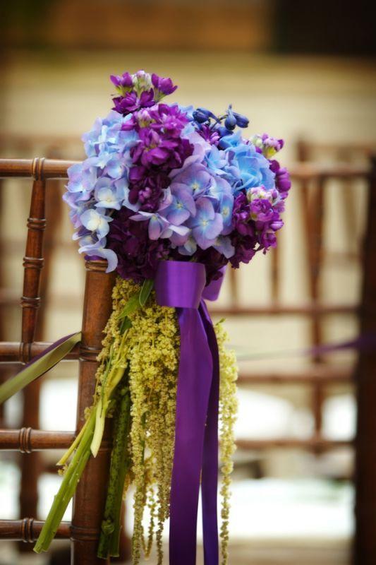 Chair-Back-Purple-and-Gold-Wedding-ThemeBlue Hydrangea, Purple Wedding Flower, Ceremonies Flower, Colors, Wedding Blue, Wedding Flowers, Aisle Markers, Blue Wedding Flower, Wedding Theme