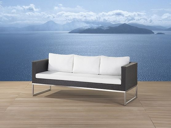 Elegant Sofa Seater Patio Settee Stainless Steel and Wicker Brown Crema