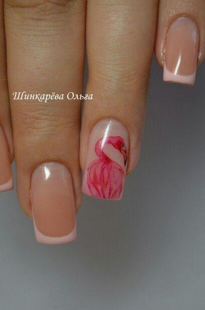 Наращивание ногтей. Фламинго. Акварель.