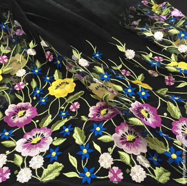 Купить -20% Blumarine вышивка на сетке, Италия - итальянские ткани, ткани для шитья, ткани Италии
