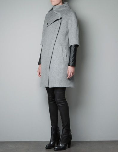COAT WITH QUILTED FAUX LEATHER SLEEVES - Zara