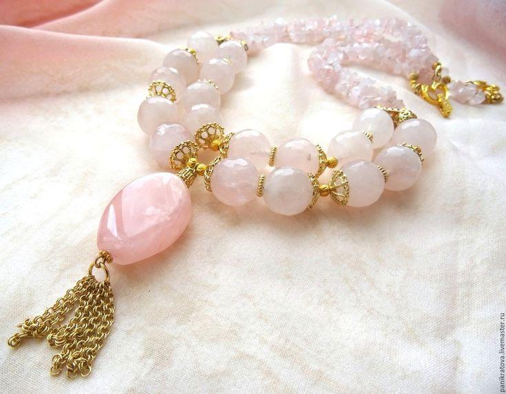 """Купить Колье """"Розовая вода"""" (розовый кварц) - бледно-розовый, пыльная роза, розовый"""