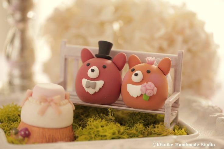 Pembroke Welsh Corgis wedding cake topper