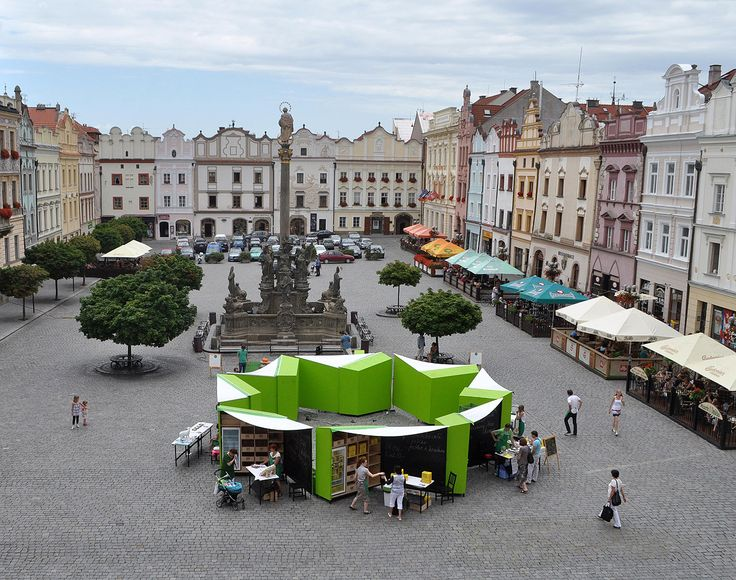 Green market stalls. Product design for mobile market stalls. It is a reaction to the big trend of bio-markets in czech republic