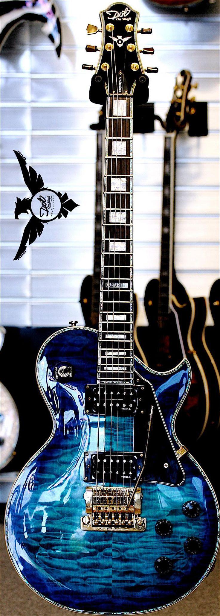 Dot On Shaft Guitars Carparelli Signature Series Model Ocean Blueburst with a Kahler Hybrid Tremolo Bridge System