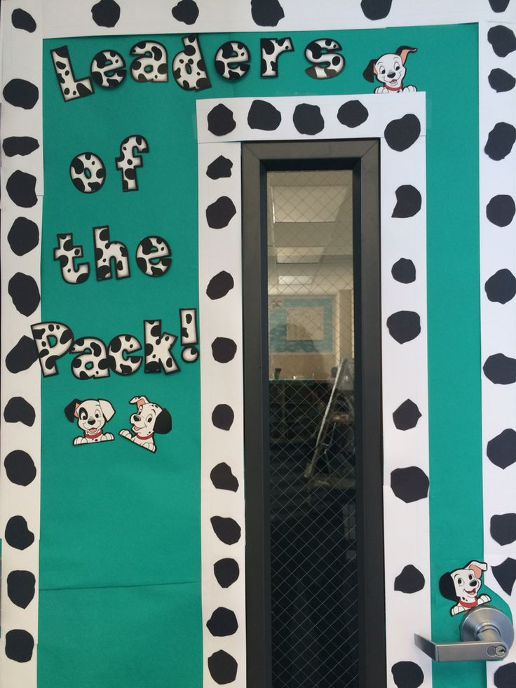 Decorated Classroom door. Dog/Dalmatian theme.
