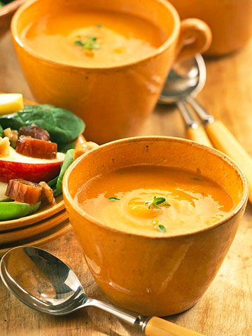 Warm up with a bowl of apple squash soup tonight. To make this dish completely vegetarian, substitute vegetable for chicken stock.