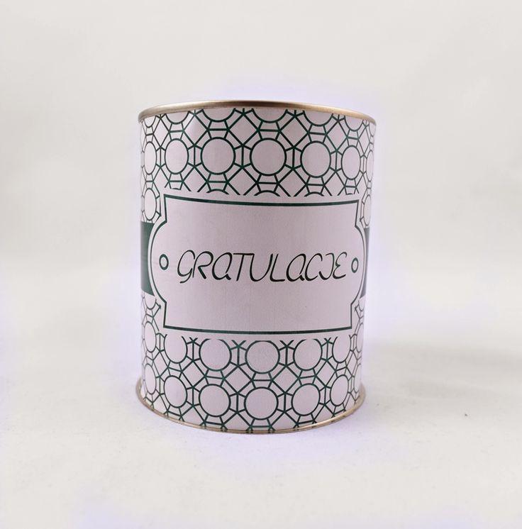 Puszka z gratulacjami ze spersonalizowaną zawartością i etykietą, pomysł na prezent! http://3dpoint.pl/?page_id=15646