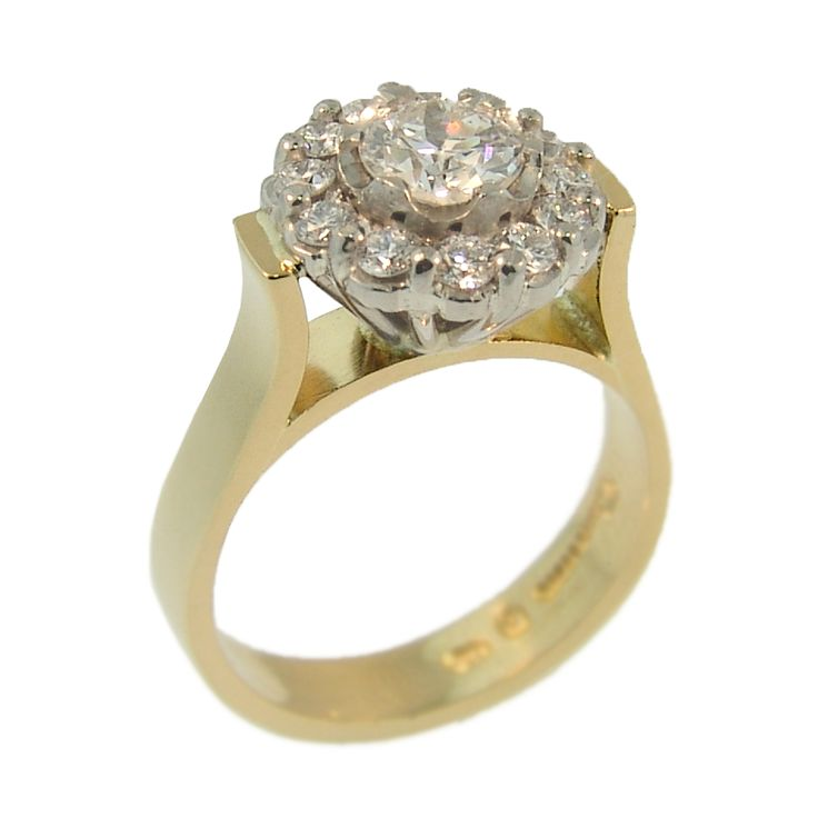 18ct Yellow & White Gold Round Brilliant Diamond Ring. Handmade at Cameron Jewellery