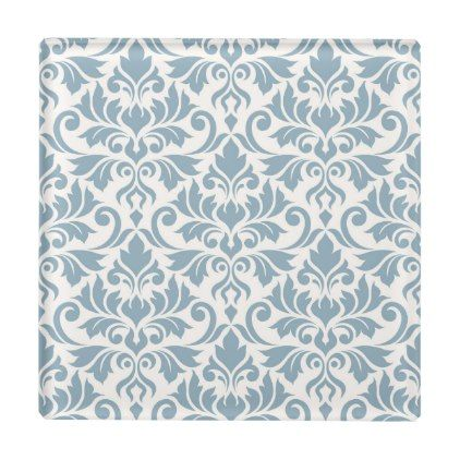 Flourish Damask Pattern Blue on Cream Glass Coaster - home gifts ideas decor special unique custom individual customized individualized