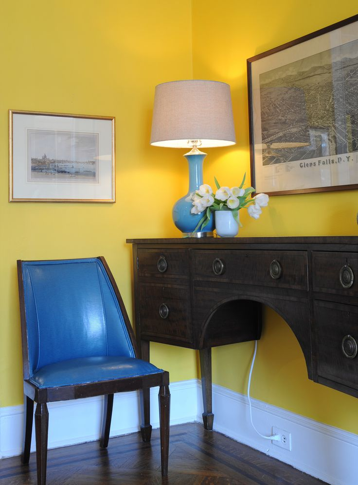 English sideboard in yellow living room