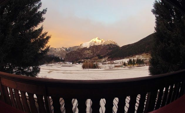 Sunset behind the Presolana mountain, a view from Borno, Italy