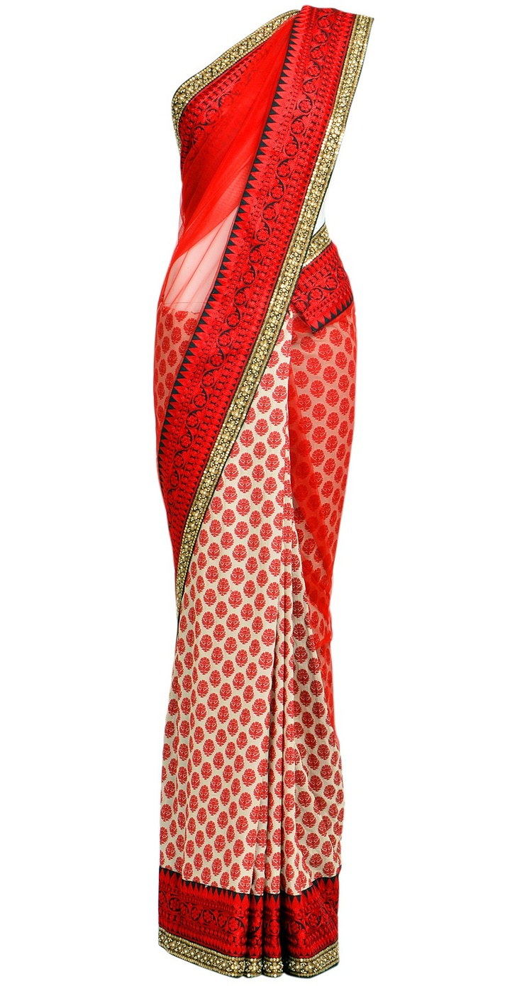 White and red half net - half brocade sari. Sabyasachi Mukherjee Collection