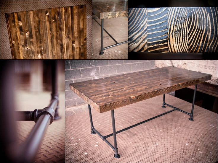 Industrial Butcher Block Table Farmhouse Table With Industrial Piping Metal Legs Dark Walnut