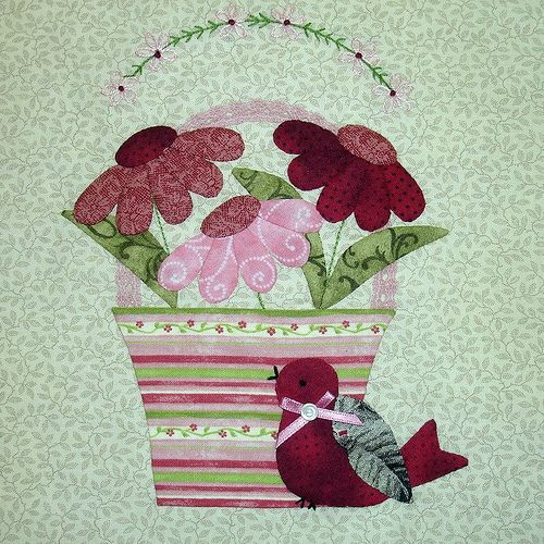 """BLOCK 6 - JUNE BUNNY HILL """"A TISKET A TASKET"""" BLOCK OF THE MONTH by Happy 2 Sew, via Flickr"""