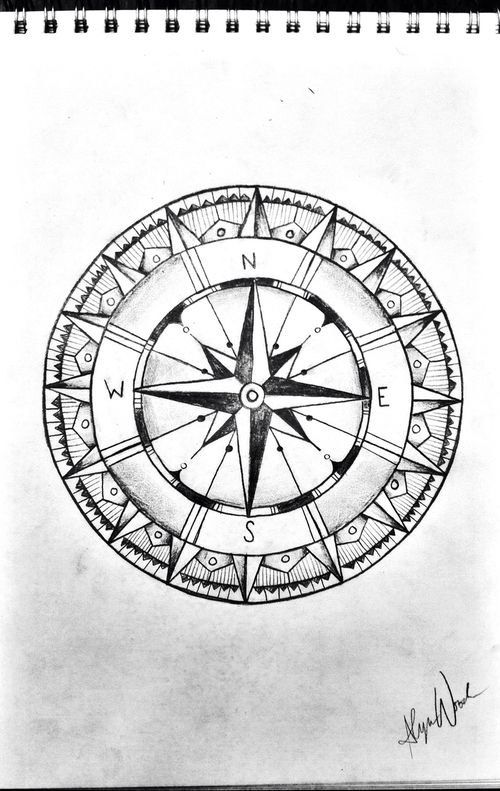 Compass Tattoo Line Drawing : Compass drawing sketch black and white tattoo