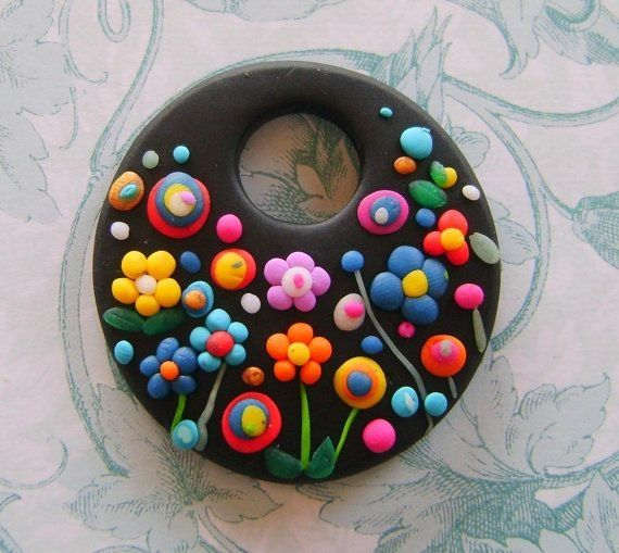 Fimo Polymer Clay Necklace Medallion - flowers in the night garden ...