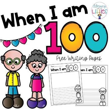 Freebie: Fun writing prompt for the 100th day of school. Students will write about their predictions for when they are 100 years old. Will they sit on the porch in their rocking chairs reading newspapers? Will they have a billion grandkids? It is so fun to see what kids imagine for