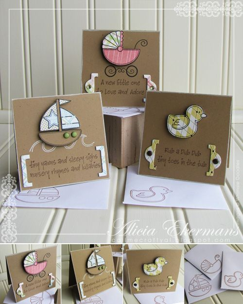 set of baby kards with adorable images paper pieced and popped on kraft with cute messages...
