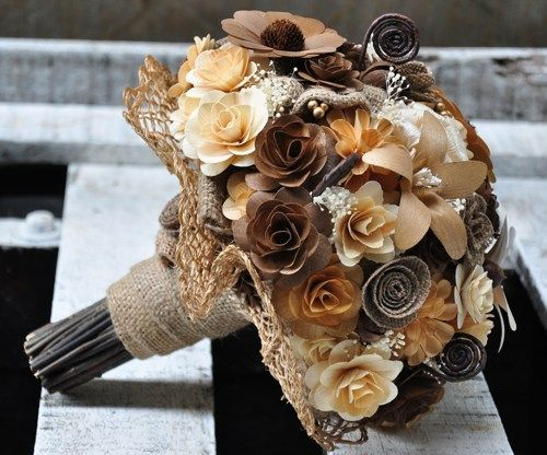 Brown Burlap Ivory Bouquet Made of Wood, Burlap and Corn Husk Flowers